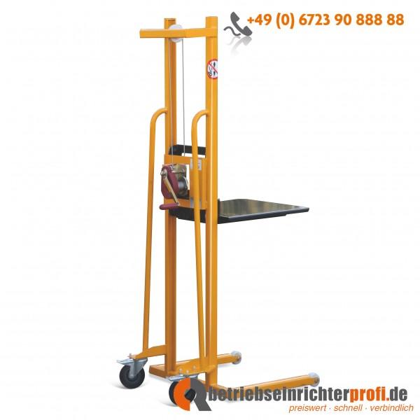 Taurolifter Materiallifter mit Plattform 500 x 460 mm, Hubhöhe 1500 mm, Traglast 100 kg, mit Vollgummibereifung