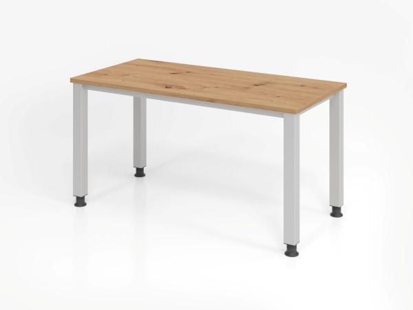 Schreibtisch 4Fuß-rd.140x67cm Asteiche/silber