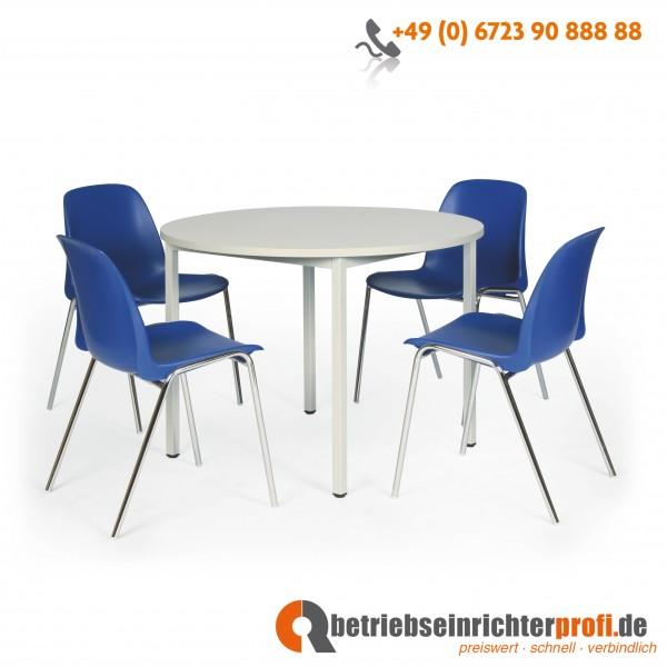 Taurotrade Tisch-Stuhl-Kombinationen mit 1 runder Tisch ø 1000 mm und 4 Kunststoff-Stapelstühlen