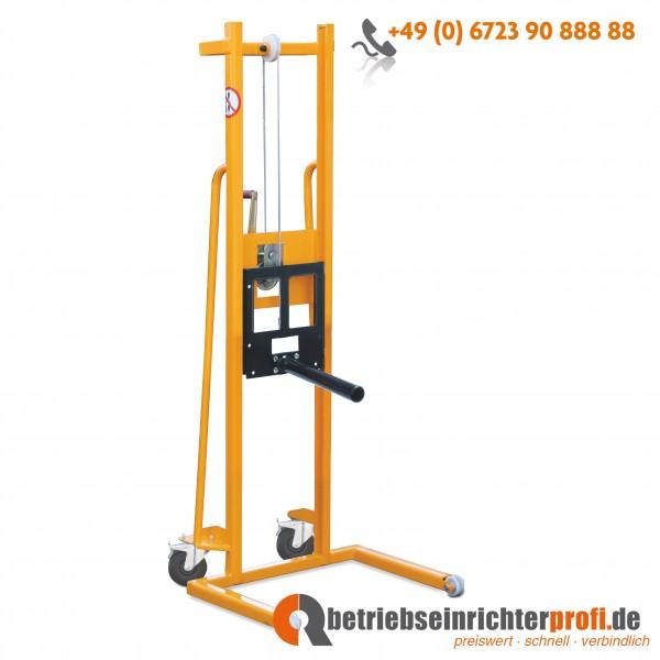 Taurolifter Materiallifter mit Aufnahmedorn L 600 mm ø 48mm, Hubhöhe 1500 mm, Traglast 100 kg, mit Vollgummibereifung