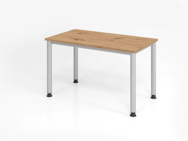 Schreibtisch 4Fuß-rd.120x67cm Asteiche/silber