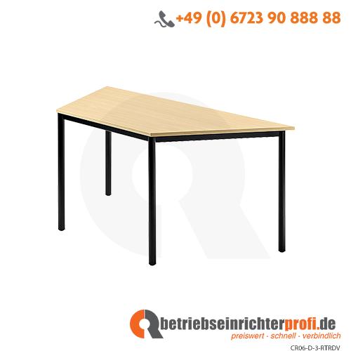Trapeztisch Rundfuß 160x69cm Ahorn/Schwarz