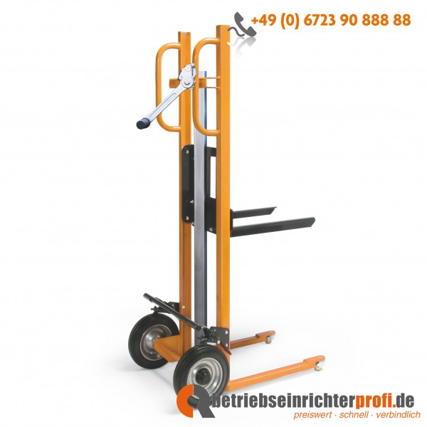 Taurolifter Hubkarre mit Gabelaufnahme 450 x 300 mm, Hubhöhe 1200 mm, Traglast 150 kg, Vollgummibereifung